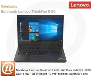 Notebook - Lenovo 20n9001mbr I7-8565u 1.80ghz 8gb 1tb Padrão Intel Hd Graphics 620 Windows 10 Professional Thinkpad E490 14