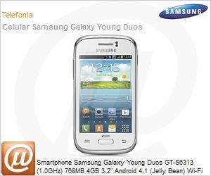 """GT-S6313ZWBZTO - Smartphone Samsung Galaxy Young Duos GT-S6313 (1.0GHz) 768MB 4GB 3.2"""" Android 4.1 (Jelly Bean) Wi-Fi N 3G Bluetooth GPS 3MP TV Digital Dual Chip microSD Branco Desbloqueado"""
