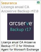 Licença anual CA Arcserve Backup r17.0 for Windows Agent for Microsoft Exchange - Prior Version UPGRADE - Product plus 1 Year Enterprise Maintenance (Figura somente ilustrativa, não representa o produto real)