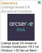 Licença anual CA Arcserve Content Distribution r16.5 for Windows 1-50 Server Band - Product plus 1 Year Enterprise Maintenance  (Figura somente ilustrativa, não representa o produto real)