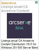 Licença anual CA Arcserve Content Distribution r16.5 for Windows 251-500 Server Band - Product plus 3 Years Enterprise Maintenance  (Figura somente ilustrativa, não representa o produto real)