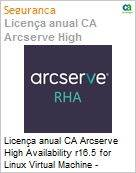 Licen�a anual CA Arcserve High Availability r16.5 for Linux Virtual Machine - UPGRADE from Replication - Product plus 1 Year Enterprise Maintenance (Figura somente ilustrativa, n�o representa o produto real)