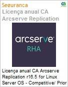 Licen�a anual CA Arcserve Replication r16.5 for Linux Server OS - Competitive/ Prior Version UPGRADE - Product plus 1 Year Enterprise Maintenance (Figura somente ilustrativa, n�o representa o produto real)