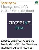 Licen�a anual CA Arcserve Replication r16.5 for Windows Standard OS with Assured Recovery - Competitive/ Prior Version UPGRADE - Product plus 1 Year Enterprise Maintenance (Figura somente ilustrativa, n�o representa o produto real)