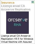Licen�a anual CA Arcserve Replication r16.5 for Windows Virtual Machine with Assured Recovery - Competitive/ Prior Version UPGRADE - Product plus 1 Year Enterprise Maintenance (Figura somente ilustrativa, n�o representa o produto real)