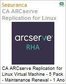Licen�a anual CA Arcserve Replication for Linux Virtual Machine - 5 Pack - Maintenance Renewal [Renova��o] - 1 Year Enterprise Maintenance Renewal [Renova��o] (Figura somente ilustrativa, n�o representa o produto real)