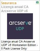 Licença anual CA Arcserve UDP v6 Workstation Edition - 5 Pack License Only UPGRADE-from-Earlier-Version-of-Same-Product License  (Figura somente ilustrativa, não representa o produto real)