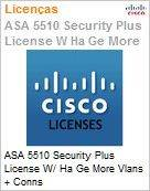 ASA 5510 Security Plus License W/ HA Ge More Vlans + Conns  (Figura somente ilustrativa, n�o representa o produto real)