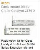 Rack mount kit for Cisco Catalyst 3750-X and 3560-X Series Extension rails and brackets for four-point mounting for Cisco Catalyst 3750-X and 3560-X Series (Figura somente ilustrativa, não representa o produto real)