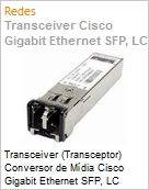Transceiver (Transceptor) Conversor de Mídia Cisco Gigabit Ethernet SFP, LC connector SX transceiver 1000BASE-T SFP transceiver module for copper connections1,3 (Figura somente ilustrativa, não representa o produto real)