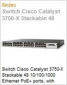 Switch Cisco Catalyst 3750-X Stackable 48 10/100/1000 Ethernet PoE+ ports, with 1100W AC power supply 1 RU, IP Base feature set  (Figura somente ilustrativa, não representa o produto real)