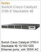 Switch Cisco Catalyst 3750-X Stackable 48 10/100/1000 Ethernet ports, with 350W AC power supply 1 RU, LAN Base feature set  (Figura somente ilustrativa, não representa o produto real)