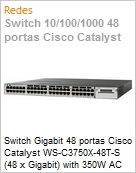 Switch Gigabit 48 portas Cisco Catalyst WS-C3750X-48T-S (48 x Gigabit) with 350W AC power supply 1 RU, IP Base feature set Stackable  (Figura somente ilustrativa, n�o representa o produto real)