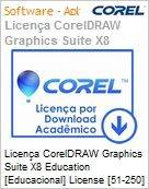 Licen�a CorelDRAW Graphics Suite X8 Education [Educacional] License [51-250] BP/ES/EN Windows  (Figura somente ilustrativa, n�o representa o produto real)