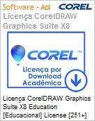 Licen�a CorelDRAW Graphics Suite X8 Education [Educacional] License [251+] BP/ES/EN Windows  (Figura somente ilustrativa, n�o representa o produto real)