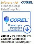 Licen�a Corel PaintShop Pro Education [Educacional] Maintenance [Manuten��o] [1 Ano] [51-250] ES/EN Windows  (Figura somente ilustrativa, n�o representa o produto real)