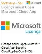 Licen�a anual Open Microsoft Cloud App Security CloudAppSecOpn SNGL SubsVL OLP NL Annual Qualified [QLFD]  (Figura somente ilustrativa, n�o representa o produto real)