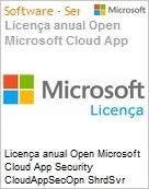 Licen�a anual Open Microsoft Cloud App Security CloudAppSecOpn ShrdSvr SNGL SubsVL OLP NL Annual Acdmc [Educacional] Fclty Qualified [QLFD]  (Figura somente ilustrativa, n�o representa o produto real)