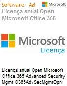 Licen�a anual Open Microsoft Office 365 Advanced Security Mgmt O365AdvSecMgmtOpn ShrdSvr SNGL SubsVL OLP NL Annual Qualified [QLFD]  (Figura somente ilustrativa, n�o representa o produto real)