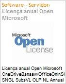 Licença anual Open Microsoft OneDriveBsnssw/OfficeOnlnShrdSvr SNGL SubsVL OLP NL Annual Qualified [QLFD]  (Figura somente ilustrativa, não representa o produto real)