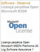 Licen�a perp�tua Open Microsoft MSDN Platforms All Lng Software Assurance 1 License No Level Qualified MSDNPltfrms ALNG SA OLP NL Qualified [QLFD] (Figura somente ilustrativa, n�o representa o produto real)