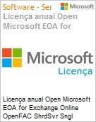 Licen�a anual Open Microsoft EOA for Exchange Online OpenFAC ShrdSvr Sngl SubscriptionVL Academic OLP 1License NoLevel Addon Qualified [QLFD] Annual [EDUCACIONAL] (Figura somente ilustrativa, n�o representa o produto real)
