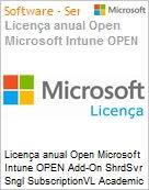Licença anual Open Microsoft Intune OPEN Add-On ShrdSvr Sngl SubscriptionVL Academic OLP 1License NoLevel Faculty Qualified [QLFD] Annual [EDUCACIONAL] (Figura somente ilustrativa, não representa o produto real)