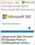 Licen�a anual Open Microsoft Office 365 Business Premium O365BusinessPrem ShrdSvr SNGL SubsVL OLP NL Qualified Anual Qualified [QLFD] 1 Usu�rio para at� 5 PCs (Figura somente ilustrativa, n�o representa o produto real)