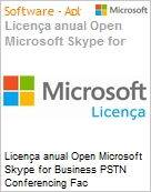 Licen�a anual Open Microsoft Skype for Business PSTN Conferencing Fac SfBPSTNConfOpenFac ShrdSvr SNGL SubsVL OLP NL Annual Academic [Educacional] [QLFD] (Figura somente ilustrativa, n�o representa o produto real)