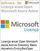 Licença anual Open Microsoft Azure Active Directory Basic AzureActvDrctryBscOpen ShrdSvr SNGL SubsVL OLP NL Annual Qualified [QLFD]  (Figura somente ilustrativa, não representa o produto real)