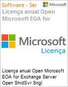 Licença anual Open Microsoft EOA for Exchange Server Open ShrdSvr Sngl SubscriptionVL OLP 1License NoLevel Qualified [QLFD] Annual  (Figura somente ilustrativa, não representa o produto real)