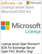 Licen�a anual Open Microsoft EOA for Exchange Server Open FAC ShrdSvr Sngl SubscriptionVL Academic OLP 1License NoLevel Qualified [QLFD] Annual [EDUCACIONAL] (Figura somente ilustrativa, n�o representa o produto real)