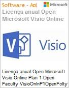 Licença anual Open Microsoft Visio Online Plan 1 Open Faculty VisioOnlnP1OpenFclty ShrdSvr SGNL SubsVL OLP NL Annual Academic [Educacional] [QLFD] (Figura somente ilustrativa, não representa o produto real)