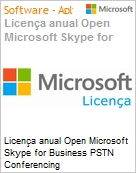 Licen�a anual Open Microsoft Skype for Business PSTN Conferencing SfBPSTNConfOpn ShrdSvr SNGL SubsVL OLP NL Annual [QLFD]  (Figura somente ilustrativa, n�o representa o produto real)