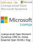 Licen�a anual Open Microsoft Dynamics CRM OL Online Essential Open ShrdSvr Sngl SubscriptionVL OLP 1License NoLevel Qualified [QLFD] Annual  (Figura somente ilustrativa, n�o representa o produto real)