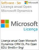 Licen�a anual Open Microsoft Dynamics CRM OL Pro Open EDU ShrdSvr Sngl SubscriptionVL Academic OLP 1License NoLevel Qualified [QLFD] Annual [EDUCACIONAL] (Figura somente ilustrativa, n�o representa o produto real)