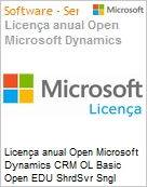 Licen�a anual Open Microsoft Dynamics CRM OL Basic Open EDU ShrdSvr Sngl SubscriptionVL Academic OLP 1License NoLevel Qualified [QLFD] Annual [EDUCACIONAL] (Figura somente ilustrativa, n�o representa o produto real)
