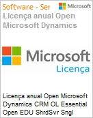 Licen�a anual Open Microsoft Dynamics CRM OL Essential Open EDU ShrdSvr Sngl SubscriptionVL Academic OLP 1License NoLevel Qualified [QLFD] Annual [EDUCACIONAL] (Figura somente ilustrativa, n�o representa o produto real)