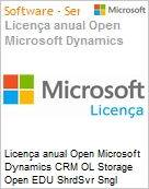 Licen�a anual Open Microsoft Dynamics CRM OL Storage Open EDU ShrdSvr Sngl SubscriptionVL Academic OLP 1License NoLevel AddOn Qualified [QLFD] Annual [EDUCACIONAL] (Figura somente ilustrativa, n�o representa o produto real)