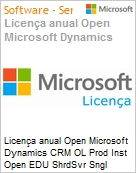 Licen�a anual Open Microsoft Dynamics CRM OL Prod Inst Open EDU ShrdSvr Sngl SubscriptionVL Academic OLP 1License NoLevel Srvcs Qualified [QLFD] Annual [EDUCACIONAL] (Figura somente ilustrativa, n�o representa o produto real)
