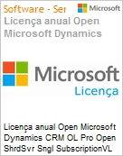 Licen�a anual Open Microsoft Dynamics CRM OL Pro Open ShrdSvr Sngl SubscriptionVL OLP 1License NoLevel Qualified [QLFD] Annual  (Figura somente ilustrativa, n�o representa o produto real)