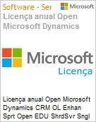 Licen�a anual Open Microsoft Dynamics CRM OL Enhan Sprt Open EDU ShrdSvr Sngl SubscriptionVL Academic OLP 1License NoLevel Qualified [QLFD] Annual [EDUCACIONAL] (Figura somente ilustrativa, n�o representa o produto real)