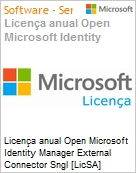 Licença anual Open Microsoft Identity Manager External Connector Sngl [LicSA] License + Software Assurance Pack OLP 1License NoLevel Qualified [QLFD] (Figura somente ilustrativa, não representa o produto real)