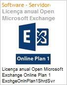 Licença anual Open Microsoft Exchange Server Online Plano 1 ExchgeOnlnPlan1Open ShrdSvr SNGL SubsVL OLP NL Annual Qlfd [Qualified]  (Figura somente ilustrativa, não representa o produto real)
