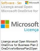 Licen�a anual Open Microsoft OneDrive for Business Plan 2 OneDriveforBsnssPlan2Open ShrdSvr SNGL SubsVL OLP NL Annual Qualified [QLFD]  (Figura somente ilustrativa, n�o representa o produto real)