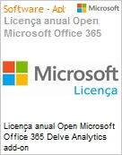 Licença anual Open Microsoft Office 365 Delve Analytics add-on O365DlvAnltcsAddOnOpen ShrdSvr SNGL Subs OLP NL Annual toO365 AddOn Qualified [QLFD] (Figura somente ilustrativa, não representa o produto real)