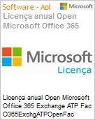 Licen�a anual Open Microsoft Office 365 Exchange ATP Fac O365ExchgATPOpenFac ShrdSvr SNGL SubsVL OLP NL Annual Acdmc [Educacional] PerUsr Qualified [QLFD] (Figura somente ilustrativa, n�o representa o produto real)