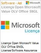 Licença Open Microsoft Value OLV Office SNGL License/Software Assurance Pack [LicSAPk] No Level Additional Product 1 Year Acquired year 2  (Figura somente ilustrativa, não representa o produto real)