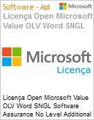 Licença Open Microsoft Value OLV Word SGNL Software Assurance No Level Additional Product 1 Year Acquired year 1  (Figura somente ilustrativa, não representa o produto real)