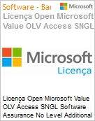 Licença Open Microsoft Value OLV Access SNGL Software Assurance No Level Additional Product 1 Year Acquired year 2  (Figura somente ilustrativa, não representa o produto real)
